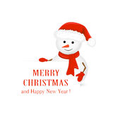 Snowman in red hat and Christmas greetings Stock Photos