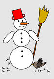 Snowman in red hat Stock Photography