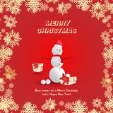 Snowman in a red hat with gifts and a scarf on a red background and snowflakes. Festive greeting card for Christmas and New Year.  Stock Photo