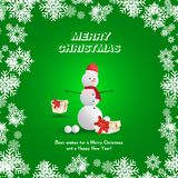Snowman in a red hat with gifts and a scarf on a green background and snowflakes. Festive greeting card for Christmas and New Year.  Stock Images
