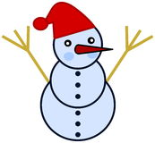A snowman with red hat Stock Image