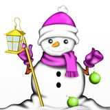 Snowman with red hat Royalty Free Stock Photos
