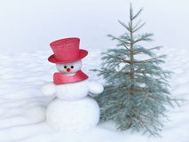 Snowman with Red Hat and Pine Tree in Winter Field Royalty Free Stock Photography