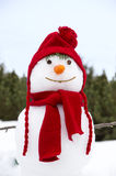 Snowman with a red hat. A portrait of a smiling snowman Stock Image