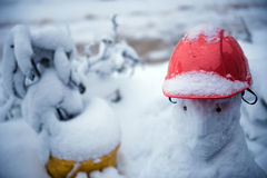 Snowman with red hat Stock Image