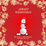 Snowman in a red hat with a scarf and snowballs on a red background and snowflakes. Festive greeting card for Christmas and New Ye. Ar Royalty Free Stock Image