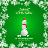 Snowman in a red hat with a scarf and snowballs on a green background and snowflakes. Festive greeting card for Christmas and New. Year Royalty Free Stock Photography