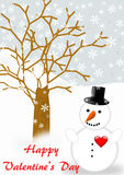 Snowman with a red heart an Valentine's greeting Royalty Free Stock Image