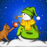 Snowman with red kitten Royalty Free Stock Photos
