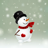 Snowman with red mittens Royalty Free Stock Images