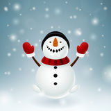 Snowman with red mittens Royalty Free Stock Image