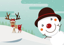 Snowman red nose and reindeer red nose with winter landscape. Christmas decoration. Stock Photos