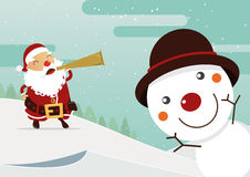 Snowman red nose and Santa red nose with winter landscape. Christmas decoration. Royalty Free Stock Photos