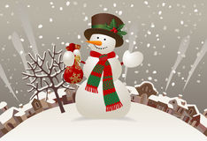 Snowman with a red scarf and hat against the winter landscape Royalty Free Stock Photography