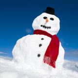 Snowman With A Red Scarf on the Hill Stock Photos