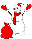 Snowman with red scarf and a sack Stock Photos