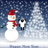 Snowman in a red scarf with a sheep Royalty Free Stock Images