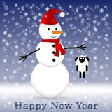Snowman in a red scarf with a sheep Stock Image