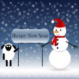 Snowman in a red scarf with a sheep Royalty Free Stock Image