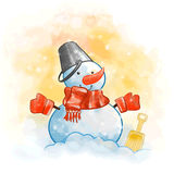 Snowman with a red scarf Stock Images