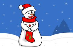 Snowman with red sock Royalty Free Stock Image
