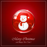 Snowman in red sphere royalty free illustration
