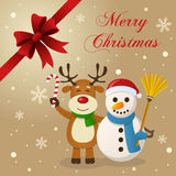 Snowman & Reindeer Christmas Card. Merry Christmas card with a cartoon snowman smiling and holding a broom and a cute reindeer greeting and holding a candy Stock Image