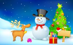 Snowman and Reindeer in Christmas Night. Illustration of snowman and reindeer in Christmas night Royalty Free Stock Images