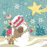 Snowman, Reindeer and Falling Star Royalty Free Stock Photos