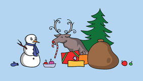 Snowman and Reindeer Meeting for Christmas Stock Photography