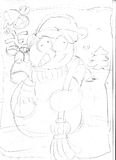 Snowman with reindeer ,sketches and pencil sketches and doodles Stock Photo