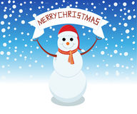 Snowman is representing merry christmas. Snowman is showing happy holidays Royalty Free Stock Photos