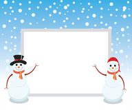 Snowman is representing merry christmas. Snowman is showing happy holidays with whiteboard Royalty Free Stock Photos