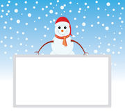 Snowman is representing merry christmas. Snowman is showing happy holidays with whiteboard Royalty Free Stock Images