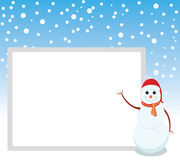 Snowman is representing merry christmas. Snowman is showing happy holidays with whiteboard Royalty Free Stock Photography