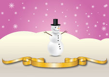 Snowman and ribbon Stock Image