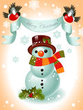 Snowman and ribbon Merry Christmas Stock Images