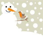 Snowman and robin bird Royalty Free Stock Photos