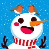 Snowman With Robin Birds Stock Images