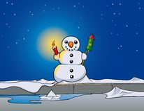 Snowman rocket. Snowman with firework display and candle Stock Photos