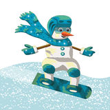 Snowman rolling on a snowboard Stock Photography