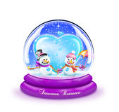 Snowman Romance Snow Globe Stock Photo
