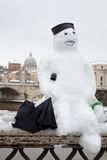 Snowman in Rome. Febrary 4, 2012 - Rome (Italy), the rare cold leaves the Italian city Rome blanketed with snow Stock Photos