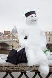 Snowman in Rome. Stock Photos