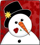 Snowman & Rose Royalty Free Stock Images
