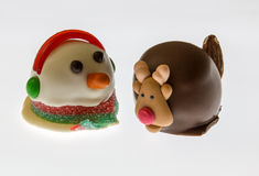 Snowman and Rudolph Royalty Free Stock Photography