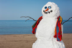 Snowman's Bad Idea. A snowman decides to go to the beach Stock Images