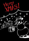 Snowman`s greetings. Christmas greetings card with snowman stock illustration