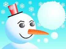 Snowman's idea. Christmas snow man with dialog bubble Royalty Free Stock Photo
