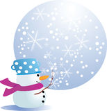 Snowman`s magic. Vector illustration of an winter greeting card Stock Photo